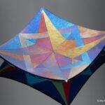 Iridescent star plate, blue background